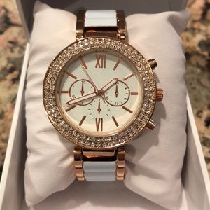 Rose Gold and White Cuff Watch